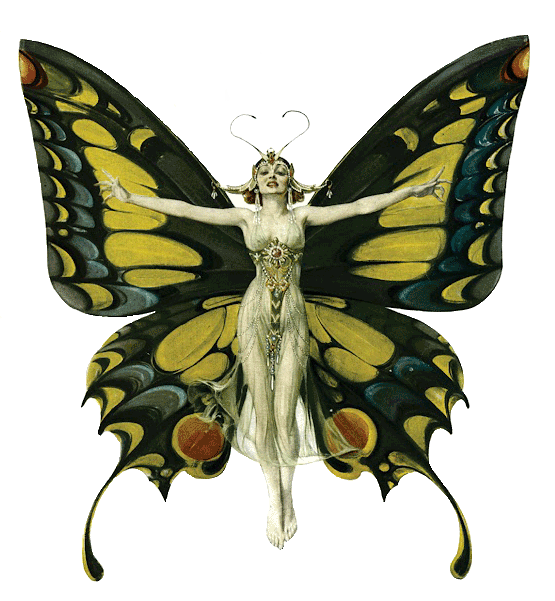 Butterfly-Woman-artnuveau-golden